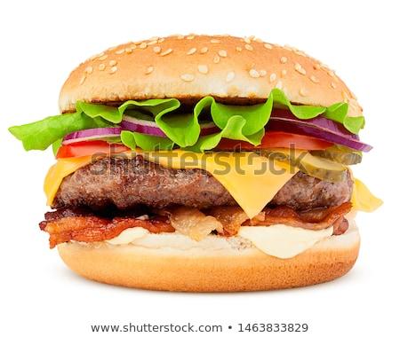 Grande hamburguesa con queso aislado blanco alimentos fondo Foto stock © ozaiachin