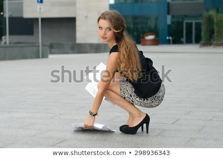 Iş kadını belgeler zemin klasörler kadın Stok fotoğraf © varlyte