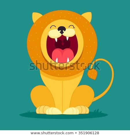 Desenho · animado leão mascote vetor gráfico