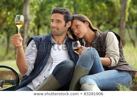 Zdjęcia stock: Couple Sat Tasting Wine In Vineyard