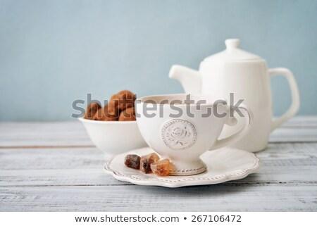 Кубок чай Cookies блюдце шоколадом фон Сток-фото © DedMorozz
