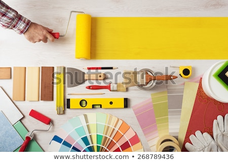 Decorator holding wallpaper brush Stock photo © photography33