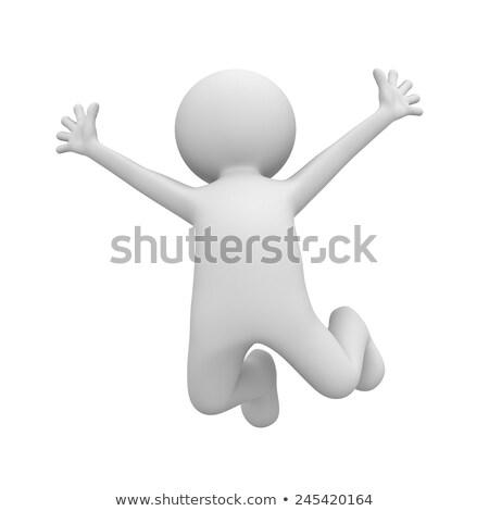 zakenman · aktetas · springen · jonge · hand · verticaal - stockfoto © smithore