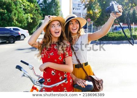 Portré kettő lányok biciklik természet háttér Stock fotó © photography33