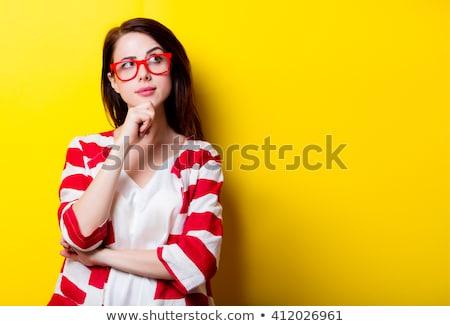 Ruj düşünceler düşünce balonu kırmızı ruj düşünme Stok fotoğraf © Dizski