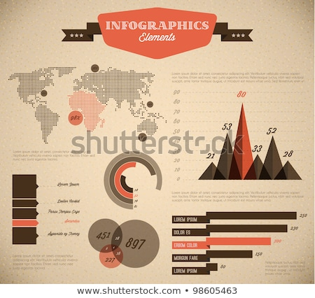 brown and red vector retro vintage set of infographic elements stock photo © orson