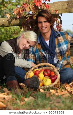 Pár elvesz törik szőlőszüret almák nő Stock fotó © photography33