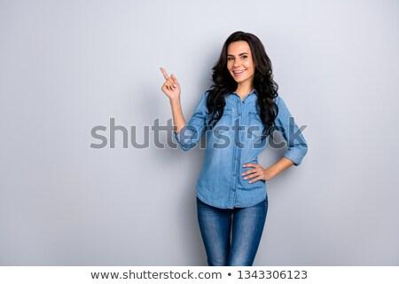 Vrouw wijsvinger omhoog hand gezicht Stockfoto © photography33