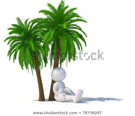 Woman Relaxing On The Trunk Of A Palm Tree Stock fotó © CoraMax