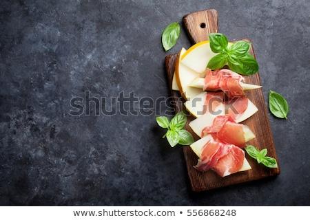 Kavun jambon beyaz plaka meyve yaz Stok fotoğraf © Koufax73