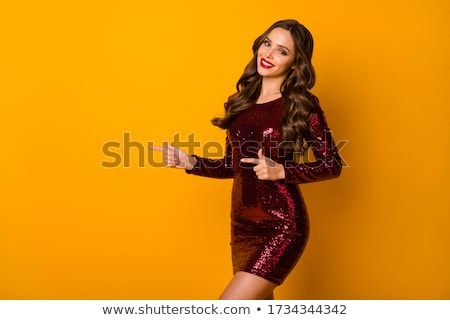 brunette girl in red dress stock photo © ruslanomega