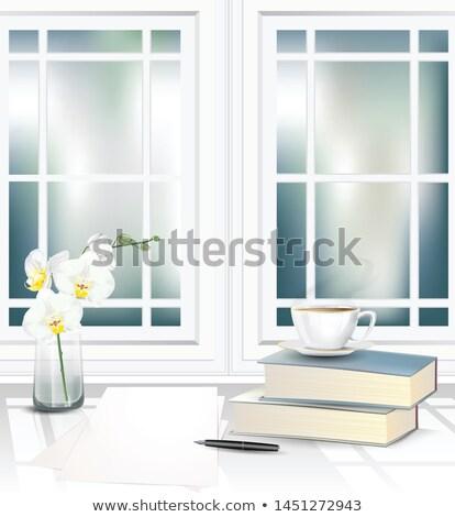 üres fehér csésze csészealj orchidea fény Stock fotó © RuslanOmega