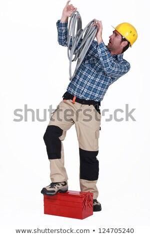 Eletricista cabos metal elétrico pessoa arame Foto stock © photography33