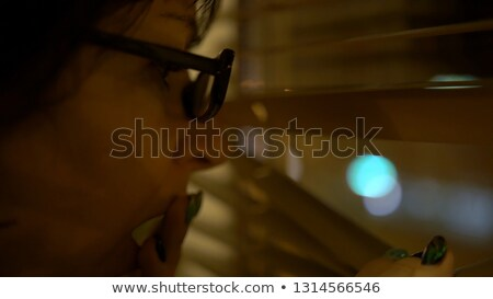 A cute brunette spying through the blinds. Stock photo © photography33