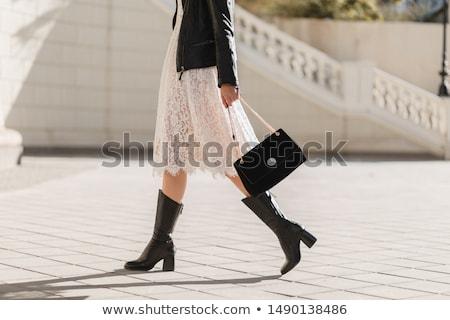 красивой · ног · черный · кожа · сапогах · женщину - Сток-фото © acidgrey