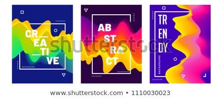 szett · absztrakt · füstös · hullámok · sablon · brosúra - stock fotó © liliwhite