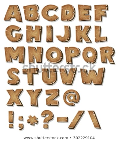 Wooden Fonts And Symbols Stock photo © benchart