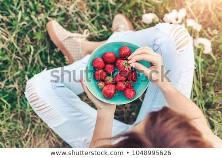 изображение · клубника · языком · красный · продовольствие - Сток-фото © anna_om
