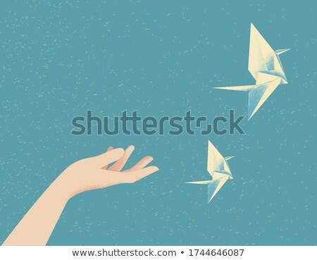 Vektor papír origami hattyú űr szöveg Stock fotó © vitek38