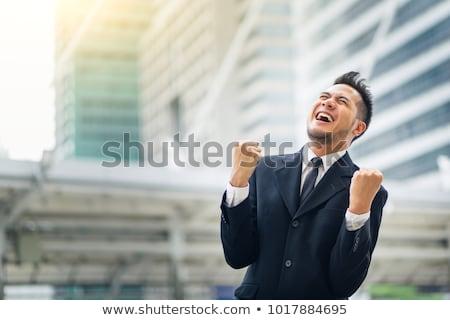 boldog · fiatal · ázsiai · üzletember · ül · asztal - stock fotó © Farina6000