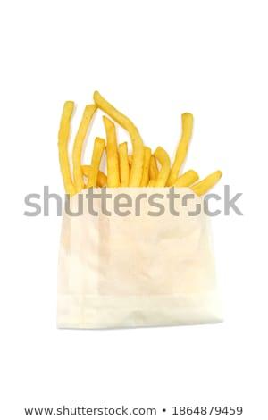 フライドポテト · 紙袋 · 孤立した · 白 · 紙 · 背景 - ストックフォト © przemekklos