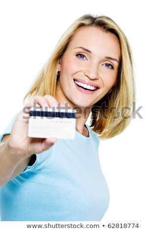 happy woman with credit card on white bacground stock photo © hasloo