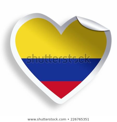 Stock fotó: Colombia · zászló · szív · papír · matrica · vektor