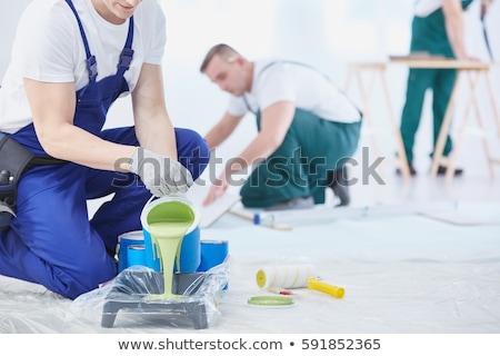 Foto stock: Manitas · pared · pintor · azul · Cartoon · ilustración