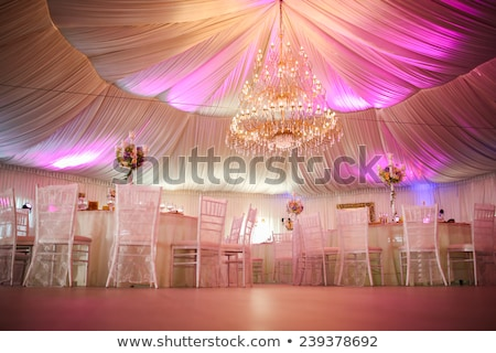 Stock photo: Wedding reception hall with decorated tables
