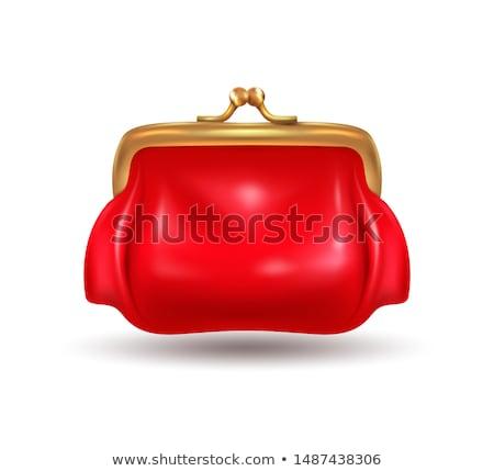piros · pénztárca · fehér · retro · női · gyönyörű - stock fotó © vlad_star