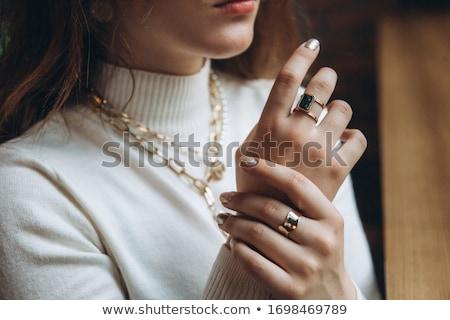 Nő portré nyaklánc gyűrű ujj barna hajú türkiz Stock fotó © chesterf