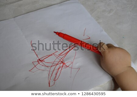 Toddler boy holding colored pencils Stock photo © sdenness