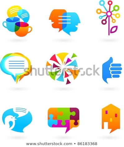 Közösségi háló ikon kék puzzle kommunikáció internet Stock fotó © tashatuvango