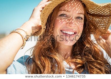 Verão retrato loiro sorridente menina branco Foto stock © dashapetrenko