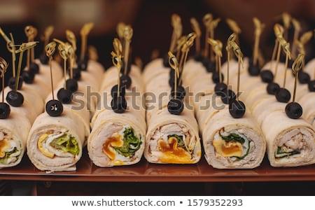 camarão · alho-porro · segurelha · torta · queijo · vermelho - foto stock © artlens