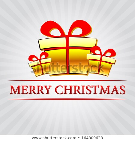 merry christmas with golden gift boxes over silver rays Stock photo © marinini