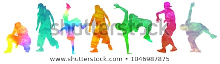 Man cool rap aantrekkelijk gezicht dans Stockfoto © meinzahn
