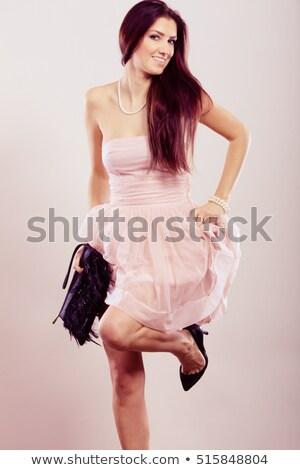 Elegáns koszorúslány cipők pénztárca nők menyasszony Stock fotó © gsermek
