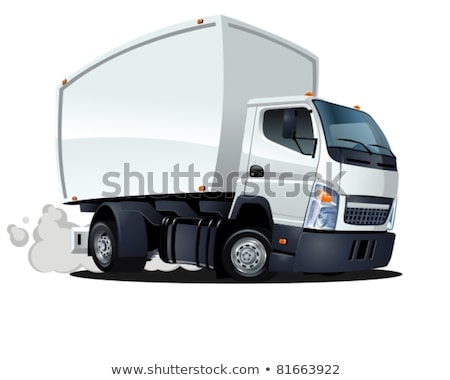 Foto stock: Vector Cartoon Delivery Cargo Truck