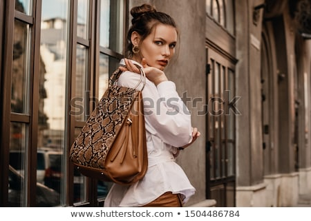 Atraente morena mulher píton cara parede Foto stock © Nejron