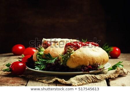 Ketchup voedsel diner pasta maaltijd fast food Stockfoto © M-studio