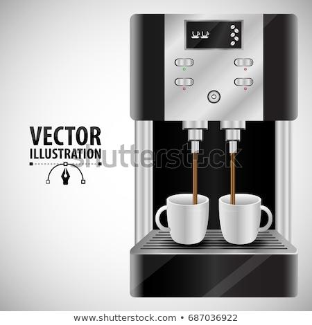 Profi fém elektromos kávéfőző ital gép Stock fotó © cherezoff