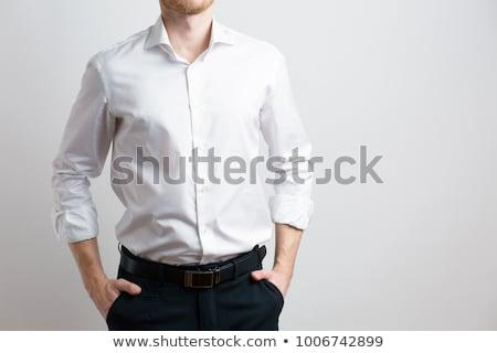 Hombre guapo blanco camisa aislado cara diversión Foto stock © Nejron