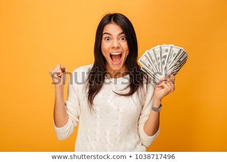 Mujer efectivo Cartoon dólar proyecto de ley Foto stock © blamb