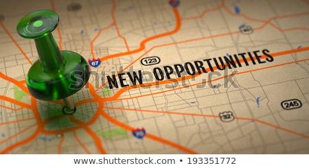 New Hopes - Green Pushpin on a Map Background. Stock photo © tashatuvango