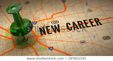 New Career - Green Pushpin on a Map Background. Stock photo © tashatuvango