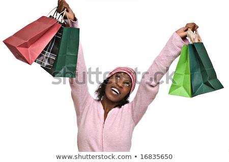 Vermelho verde natal presentes africano americano mulher Foto stock © dgilder