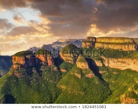 puesta · de · sol · África · sabana · árboles · nubes · luz - foto stock © ottoduplessis