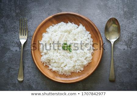 Párolt rizs fűszer piros tál rusztikus Stock fotó © zhekos