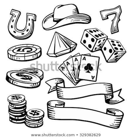 Vintage poker diamanti etichetta wallpaper giocare Foto d'archivio © carodi